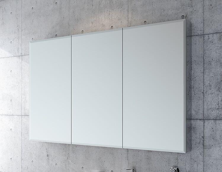 Three panel glass mirrored medicine cabinet
