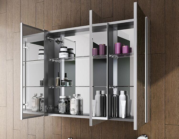 mirrored medicine cabinet three panel open view