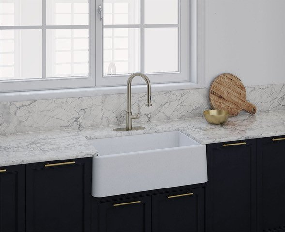 Latoscana 3D Image of white fireclay apron front sink