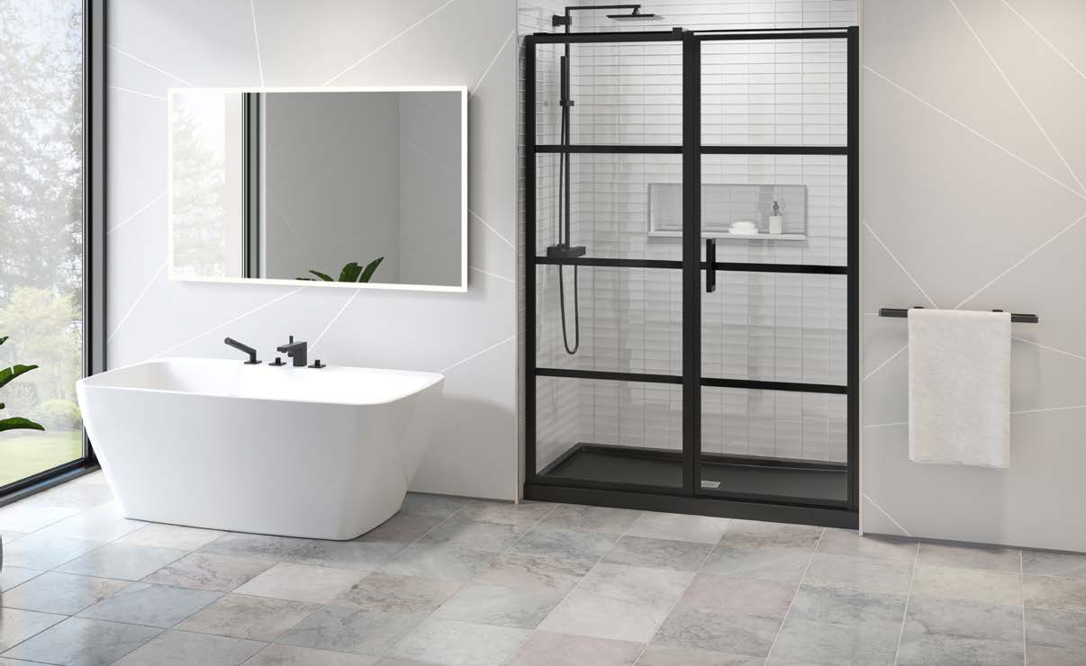 image of fleurco bathroom shower doors and tub for residential delivery promo valid through august 30th 2020