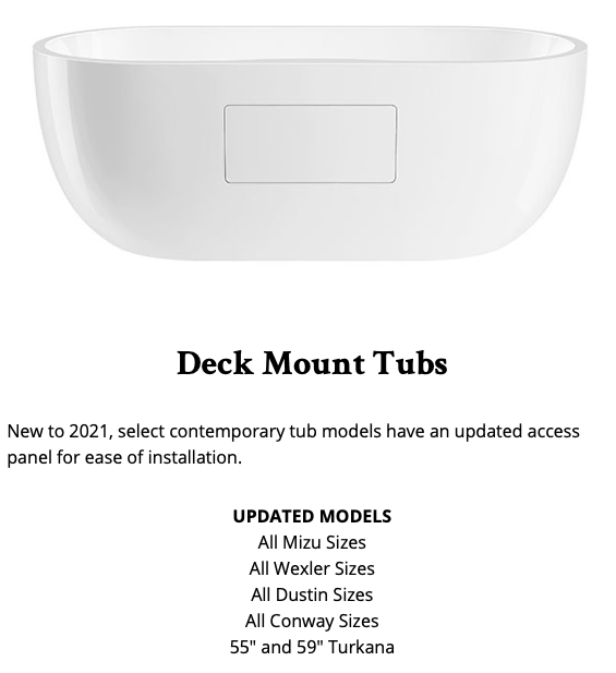 image of deck mount tub display promotion for january 2021 by Maidstone Plumbing Supply