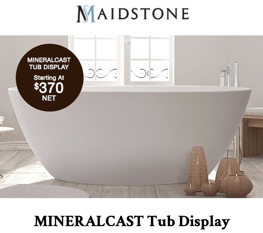 image of mineral cast tub display promotion for january 2021 by Maidstone Plumbing Supply