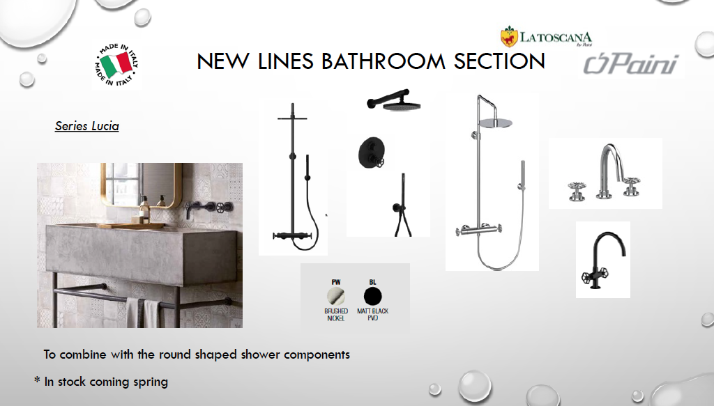 screenshot of Latoscana Paint USA New Products for 2021 Shower Heads and Faucets Images